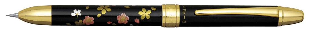 MWB-3000RM-#4 TRIPLE ACTION CHERRY BLOSSOM PEN WITH BLACK, RED INK AND PENCIL OPTION.