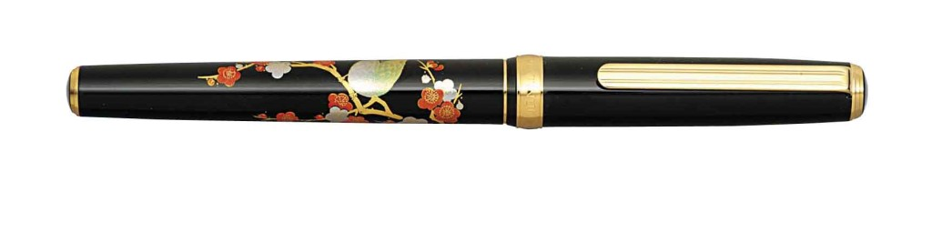 PTL-12000M-#31 MODERN MAKI-E BRUSH WARBLER 18 kt. GOLD NIB AVAILABLE IN FINE AND MEDIUM.