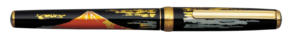 PTL-15000H-#58 MODERN MAKI-E RED MT. FUJI. 18 kt. GOLD NIB AVAILABLE IN FINE AND MEDIUM.
